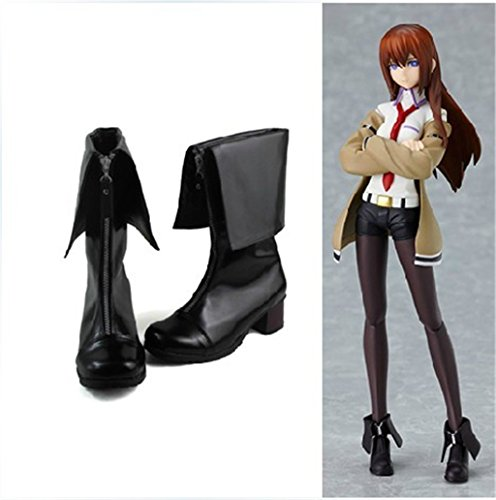 [Lolita Punk Makise Kurisu boots Matt Black 4.5 CM US 6] (Kurisu Makise Cosplay Costume)