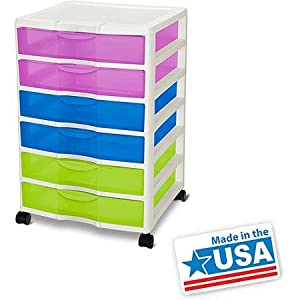 Wide 6 Drawer Cart- Multicolor by Sterilite