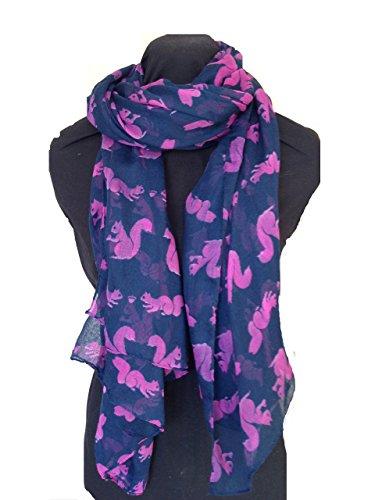 pamper-yourself-now-womens-squirrel-design-scarf-175cm-x-105cm-dark-blue-with-pink