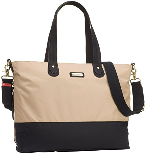 Storksak Color Block Tote Diaper Bag - Champagne/Black - 1