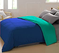AURAVE Reversible Style Solid Plain Marine Blue & Aqua Green Cotton Duvet Cover/ Quilt Cover - King Size (Gift Wrapped)