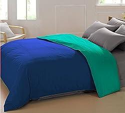 AURAVE Reversible Style Solid Plain Marine Blue & Aqua Green Cotton Duvet/Quilt Cover -Single Size (Gift Wrapped)