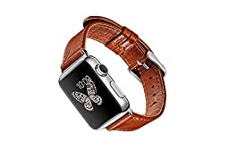 Apple Watch Band, Genuine Crafted Leather with Secure Stainless Steel Buckle, High-Quality Wristband for Sport & Edition Models (38mm)
