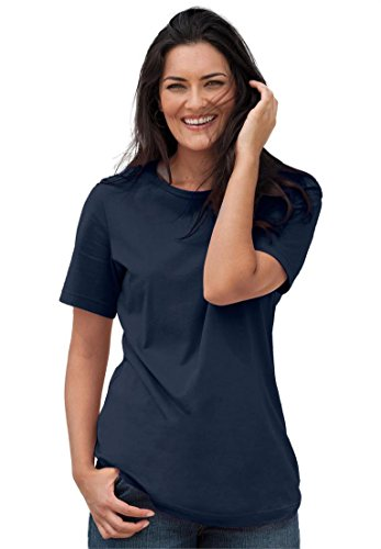 Women's Plus Size Top, Perfect Crewneck Tee In Soft Cotton Knit Navy,2X