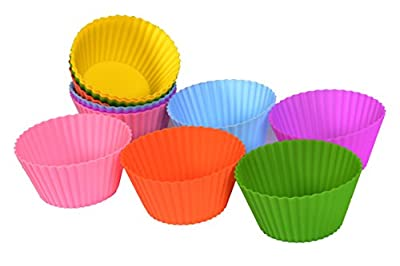 KitchenMooN Premium Silicone Cupcake Liner/Muffin Cup - Set of 12 Silicone Baking Cup - Six Colors