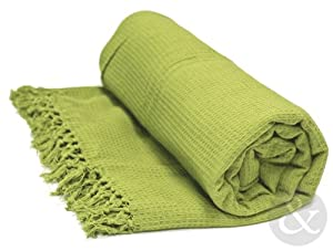 honeycomb 100 cotton throws extra large luxury thermal throw over blanket pistachio lime. Black Bedroom Furniture Sets. Home Design Ideas