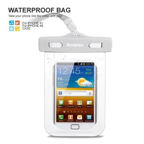 DandyCase White/Grey Waterproof Case for Apple iPhone 4, 4S - Also Works with iPod Touch 3, 4, iPhone 3G, 3GS, & Other Smartphones - IPX8 Certified to 100 Feet [Retail Packaging by DandyCase]