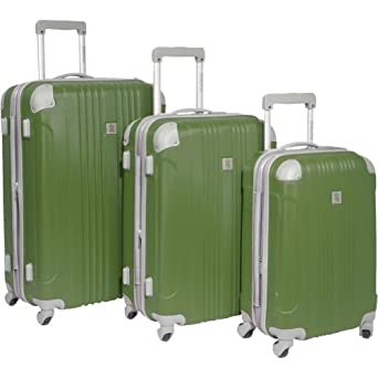 Travelers Choice Luggage Beverly Hills Country Club Malibu 3 Piece Hardside Spinner Set, Green, One Size