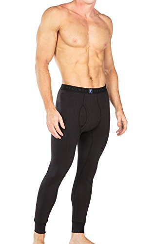 Men'S Midweight Thermal Long John Pants - Apollo (Black, Xl) Cotton Underpants Underwear For Christmas Hanukkah Holidays Birthday Present For Son Husband Fiance Boyfriend Mc6201-Blk-Xl