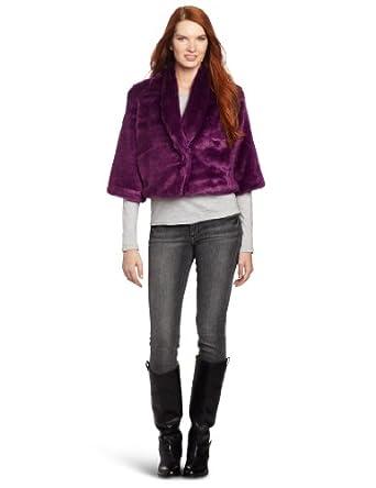 Vince Camuto Women's Faux Colored Fur Jacket, Sweet Plum, Medium