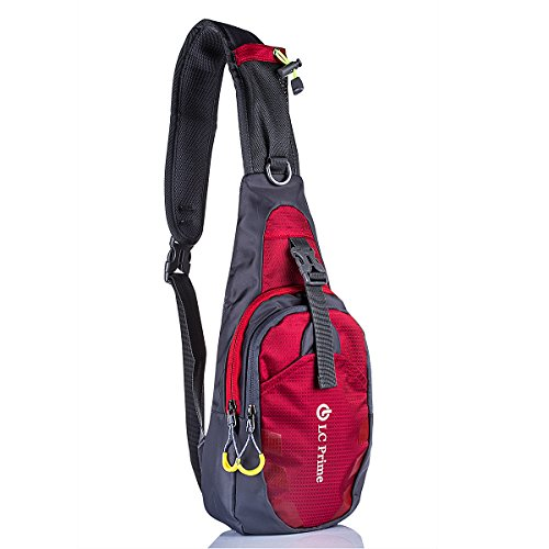 LC Prime® Sling Bag Chest Shoulder Unbalance Gym Fanny Backpack Sack Satchel Outdoor Bike nylon fabric red 1