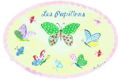 The Kids Room by Stupell Les Papillions, The Butterflies on Yellow Background Oval Wall Plaque