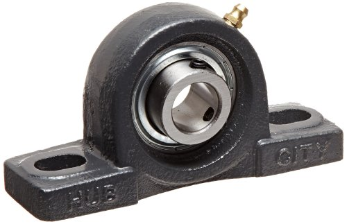 Hub City PB251URX3/4 Pillow Block Mounted Bearing, Normal Duty, High Shaft Height, Relube, Setscrew Locking Collar, Narrow Inner Race, Cast Iron Housing, 3/4