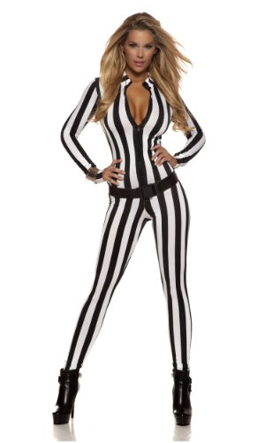 Forplay Women's Petite Strike Out Referee Zipfront Catsuit with Belt