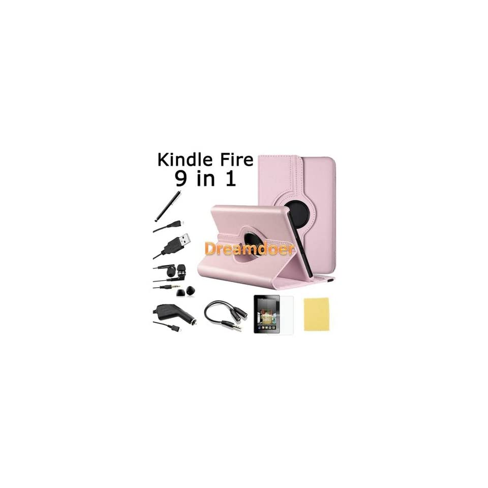 Kindle Fire Syn leather Case Cover/Car Charger/USB Cable/Stylus/Earphone PINK
