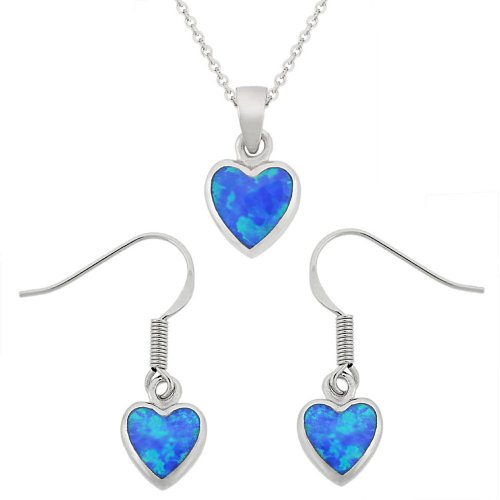 Sterling Silver Created-Blue Opal Inlay Heart Drop Pendant Necklace and Earrings Set