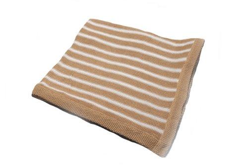 "Pickles Striped Baby Blanket, Tan, 30"" x 40"""