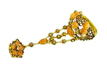 Vintage Chunky Embellished Flower Cuff Hand Chain Bracelet Ring (S001)