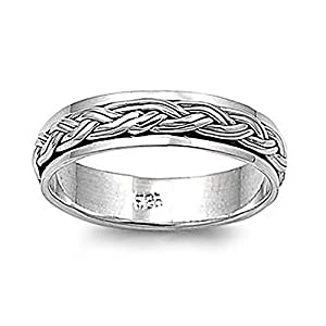 Sterling Silver Celtic Braided Spinner Ring - Size 8