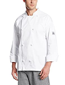 San Jamar J001 Poly Cotton Knife and Steel Long Sleeve Chef Jacket with Nylon Knot Button, 2X-Large, White