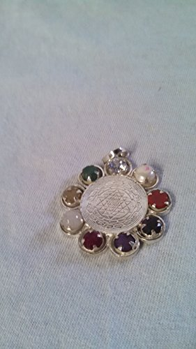 Navaratna Sri Yantra (9 Gems) Navagraha Pendant in Silver Remover of obstacles,Brings good luck,wealth ,love and health