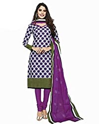 Sree Impex Women's Cotton Unstitched Dress Material (SI-CO-75_Purple_Free Size)