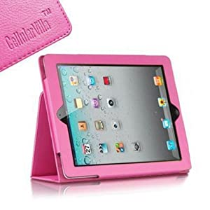 Cellularvilla Pink Flip Folio PU Leather Case Cover for Apple iPad 2 iPad 3 iPad 4 Genretaion With Retina Display (Built-in Magnet Stripe for Apple Smart Cover's Sleep / Awake)