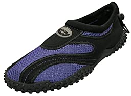 Easy USA Womens Aqua Wave Water Shoes (Purple/Black, 7)