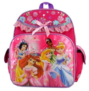 "Disney Princess Large 12"" Toddler Backpack - Beautiful Dress - Featuring Sleeping Beauty, Snow White, Tiana, Cinderella, and Ariel"