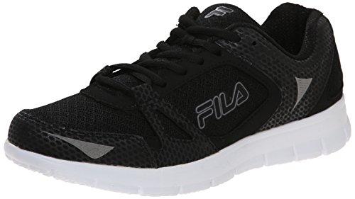 Fila Women's NRG Running Shoe, Black/White/Dark Silver, 8.5 M US