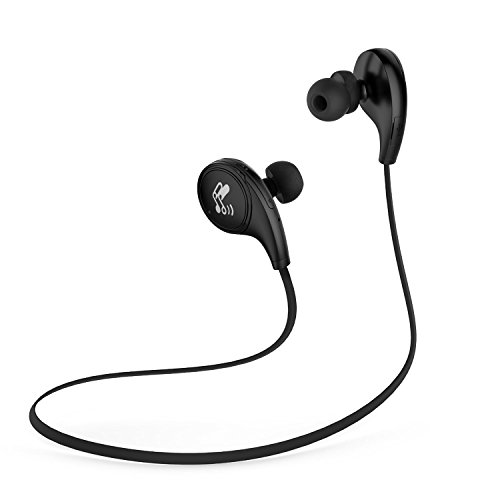 QY8 Bluetooth イヤホン SoundPEATS【メーカー直販/1年保証付】 apt-Xコーデック採用 イヤホン 高音質 防水 防滴 ランニング中でも耳から外れにくい スポーツ仕様 ワイヤレスイヤホン ハンズフリー通話 CVC6.0 ノイズキャンセリング搭載 (ブラック)