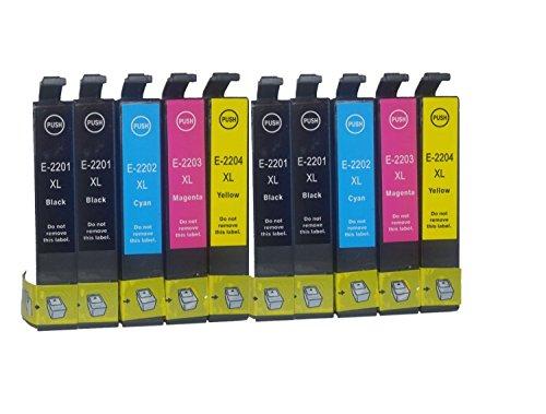 Tyjtyrjty Compatible Ink Cartridges 10 Pk Epson T220xl T220 220 for Epson Workforce Wf 2630 Wf 2650 Wf 2660 Printers