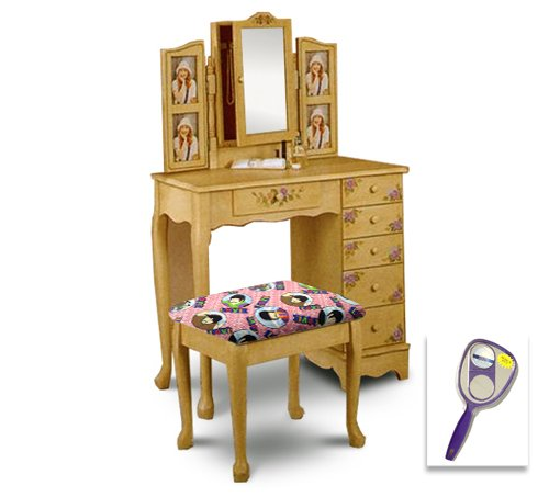 New Ivory Off White Hand Painted Floral Make Up Vanity Table with Mirror & Beatles Love Pink Themed Bench