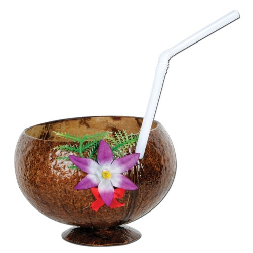 Coconut Cup (flower & straw included) Party Accessory  (1 count) (1/Pkg)