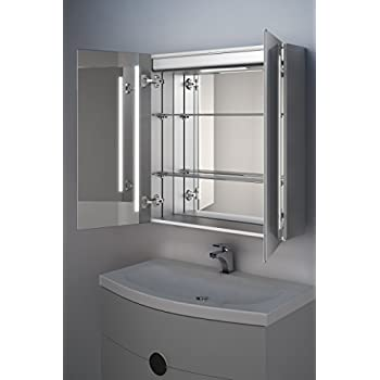 Briony LED Bathroom Mirror Cabinet with Demister Pad, Sensor & Shaver k366