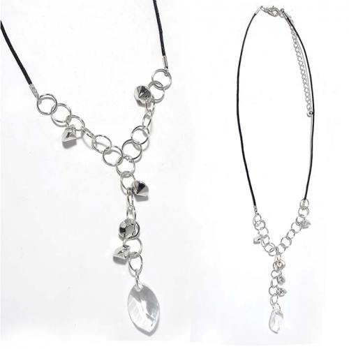 SG Paris Necklace 38cm+Ext A.Rhodium Black Transparent/Crystal Necklace Necklace Metal Summer Teenager Zother Basic Fashion Jewelry / Hair Accessories Z Others