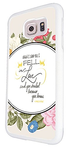 275 - Shabby chic Floral when i saw you i fell in love and you smiled because you knew it Shakespeare Qu Design Für Alle Samsung Galaxy S3 / Galaxy S3 mini / Galaxy S4 /Galaxy S4 Mini / Galaxy S5 / Galaxy S5 Mini / Galaxy S6 / Galaxy S6 Edge / Samsung Galaxy A3 / Galaxy A5 / Samsung Galaxy Galaxy Alfa / Galaxy Ace 4 / Samsung Galaxy Grand Prime Fashion Trend Hülle Schutzhülle Case Cover Metall und Kunststoff - Bitte wählen Sie Ihr Telefonmodell und Farbe aus der Dropbox