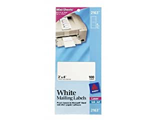 Avery Mini-Sheets Laser/Ink Jet Labels, 2 x 4 Inches, White, 100 per Pack (2163)