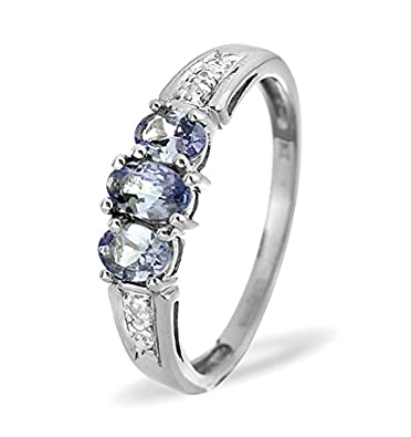 J R Jewellery White Gold Tanzanite Trilogy Ring With Diamonds From Jewellery Quarter London 0.60ct