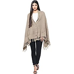 Cayman Beige Solid Woollen Poncho