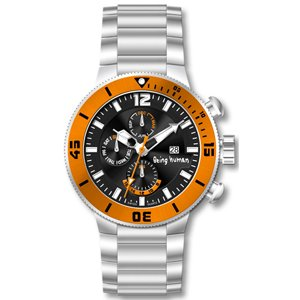 BEING HUMAN-1017 Orange Case Black dial SS Bracelet