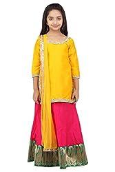 K&U Contrasting Yellow and Pink Lehenga