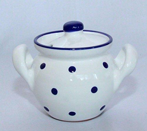 Céramique Pot à miel/pot à confiture Blanc avec bleu foncé points peints 0,4l
