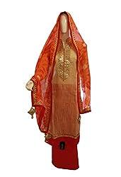 Women's Semi-Stitched Red & Beige Chanderi Cotton Suit