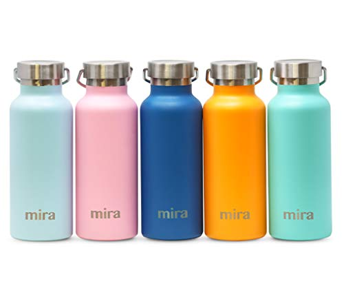 MIRA Alpine Stainless Steel Vacuum Insulated Water Bottle with 2 Lids, Durable Powder Coated Thermos   25 oz (750 ml)   Matte Pearl Blue