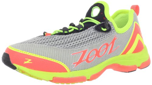 Zoot Women's Ultra Tempo 5.0 Running Shoe,Silver/Hot Coral/Safety Yellow,7.5 M US