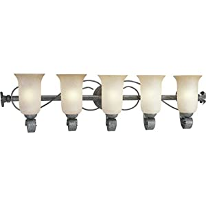 Progress Lighting P3130-85 Five-Light Bath Fixture with Antique Etruscan Glass, Swedish Iron