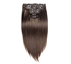 Majik Clip On Real Human Hair Extensions 7 pcs Instant Volume And Thickness Straight 50 grams (16 inch, MEDIUM BROWN)