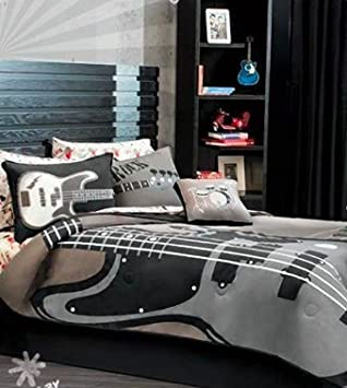 Grey Red Guitar Comforter Bedding Set Full/Queen