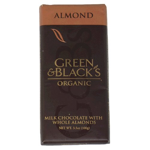 Green & Black's Organic Milk Chocolate Bar, with Whole Almonds, 3.5-Ounce Bars (Pack of 10)